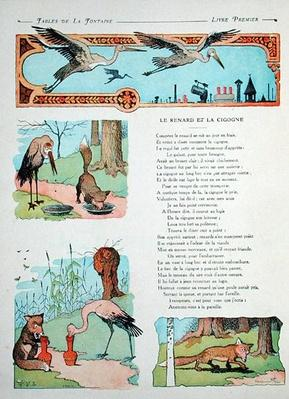 The Stork and the Fox, from the 'Fables' by Jean de la Fontaine by  Rabier, Benjamin (1869-1939)