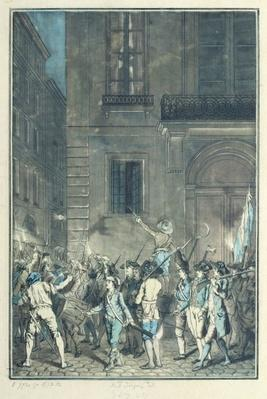 The mob roaming the streets of Paris carrying torches at night in July 1789
