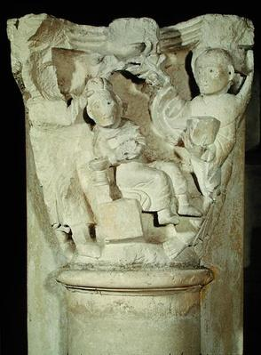 Capital with a relief depicting the Sacrifice of Abraham