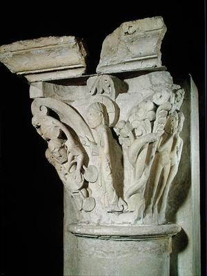 Capital with a relief depicting Adam and Eve