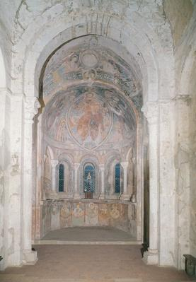 Interior view of the apse with a fresco depicting Christ giving the law to St. Peter in the presence of saints and apostles