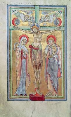 Ms 108 f.58v Crucifixion, from the Sacramentary of St. Amand