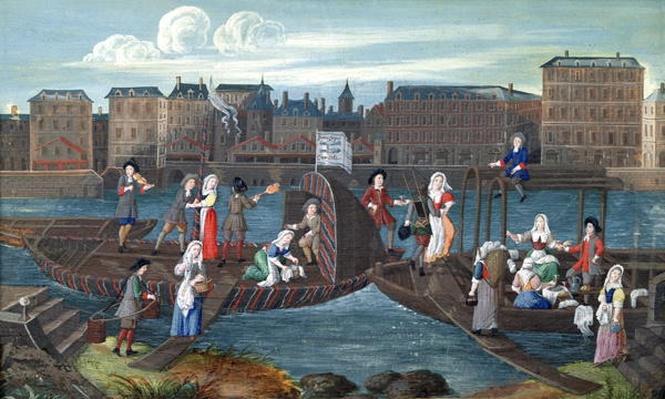 Fish Shop and Laundry Boat at the Quai de la Megisserie, c.1670