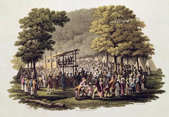 Camp Meeting of the Methodists in North America, engraved by Matthew Dubourg