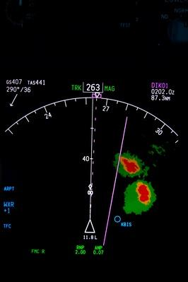 navigation display with radar image of a thunderstorm | Weather