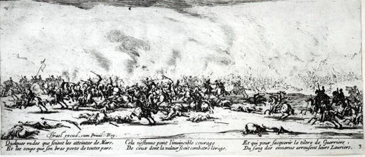 The Battle, plate 3 from 'The Miseries and Misfortunes of War', engraved by Israel Henriet