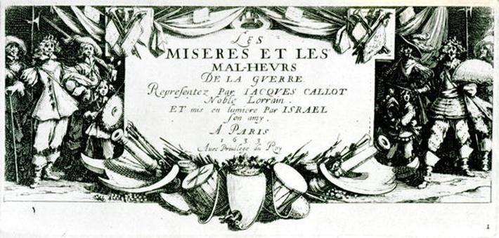 Frontispiece, plate 1 from 'The Miseries and Misfortunes of War', engraved by Israel Henriet