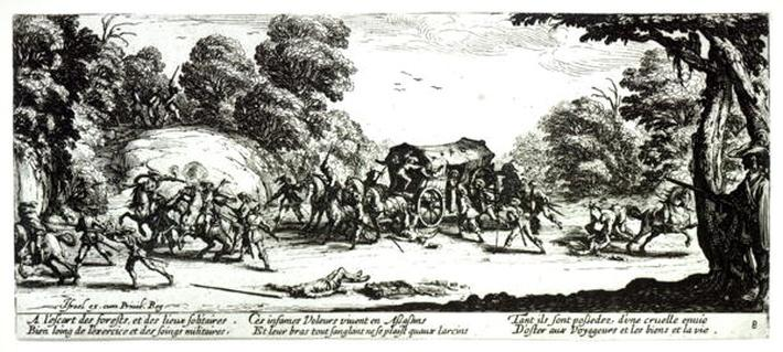 The Attack on the Stagecoach, plate 8 from 'The Miseries and Misfortunes of War', engraved by Israel Henriet