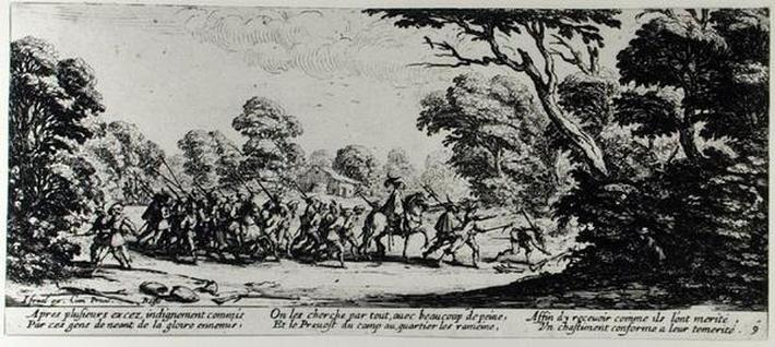 The Discovery of the Brigands, plate 9 from 'The Miseries and Misfortunes of War', engraved by Israel Henriet