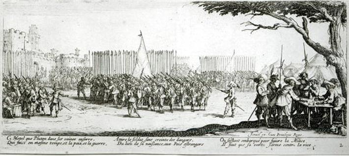 The Raising of an Army, plate 2 from 'The Miseries and Misfortunes of War', engraved by Israel Henriet