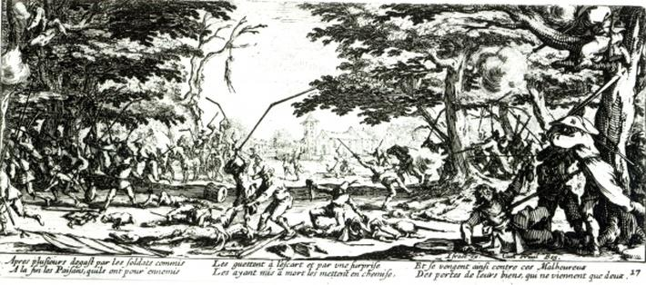 The Peasants' Revenge, plate 17 from 'The Miseries and Misfortunes of War', engraved by Israel Henriet