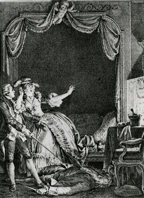 ''Sainte Vierge!' s'ecria-t-elle qu'allons nous devenir? Un Homme tue chez moi!', illustration from chapter 9 of 'Candide' by Francois Voltaire