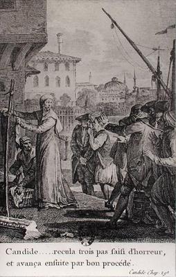 'Candide... recula trois pas saisi d'horreur, et avanca ensuite par bon procede', illustration from chapter 29 of 'Candide' by Francois Voltaire
