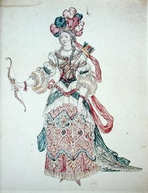 Woman with a bow, theatrical costume design