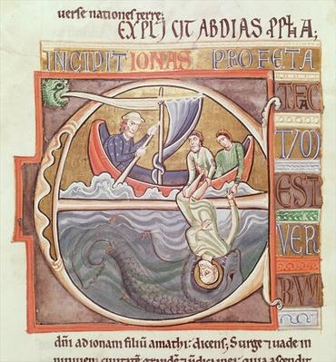 Ms 1 Fol.196v Historiated initial 'E' depicting Jonah Thrown into the Sea, from the Souvigny Bible, late 12th century
