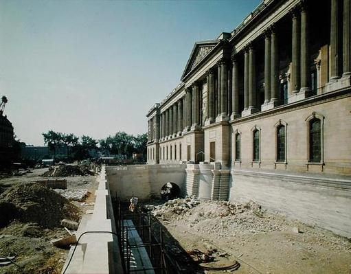 The colonnade of the Louvre photographed during restoration, 8th September 1966