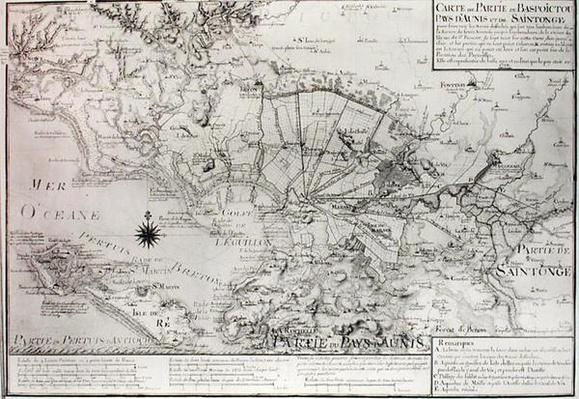 Atlas 131 H f.42 Map of Bas Poitou, Aunis and Saintonge with the marshes of the Bay of Aiguillon in 1716