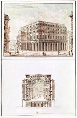 Exterior and cross-section of the interior of the Theatre des Varietes, 6 rue de Richelieu