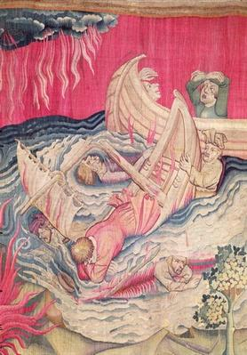 The Second Trumpet and the Shipwreck, detail of the sinking ships, number 21 from 'The Apocalypse of Angers', 1373-87