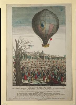 Hot-Air Balloon Experiment by the Montgolfier Brothers and Francois Pilatre de Rozier