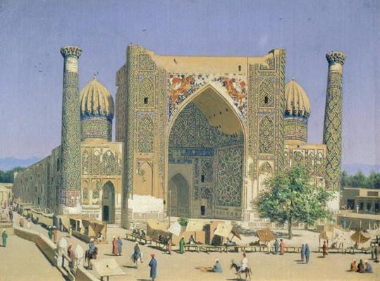 Medrasah Shir-Dhor at Registan place in Samarkand, 1869-70
