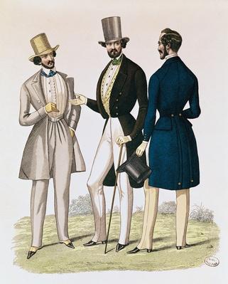 Fashion plate depicting male clothing, published by 'La Fashion', 1841