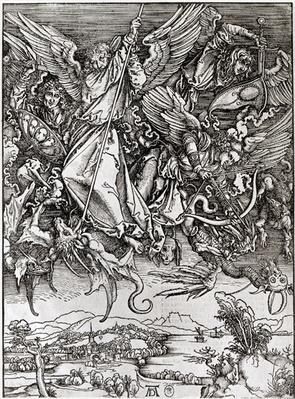 St. Michael and the Dragon, from a Latin edition, 1511
