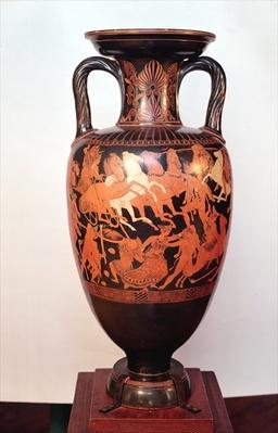 Attic red figure amphora depicting Ares and Aphrodite in a chariot fighting the giants