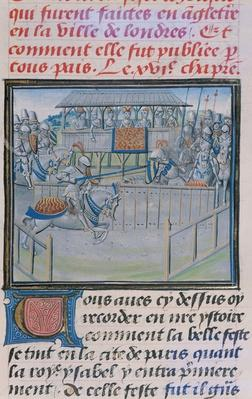 Ms 5190 f.88 A Tournament in London: Jousting, from 'Froissart's Chronicles'