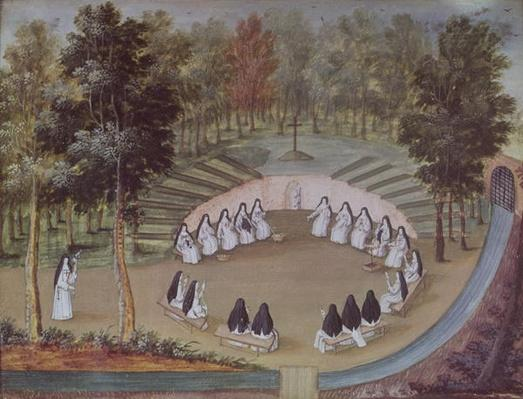Nuns Meeting in Solitude, from 'L'Abbaye de Port-Royal', c.1710