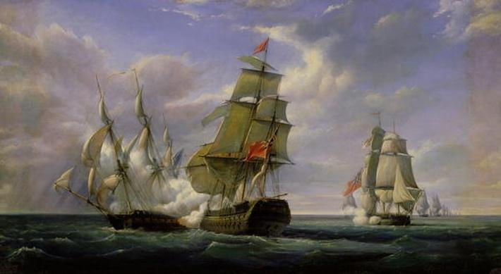 Combat between the French Frigate 'La Canonniere' and the English Vessel 'The Tremendous', 21st April 1806, 1835