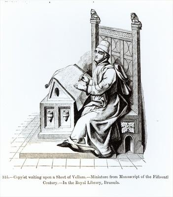 Copyist Writing upon a Sheet of Vellum, from a manuscript, illustration from 'Science and Literature in the Middle Ages and the Renaissance', written and engraved by Paul Lacroix, 1878
