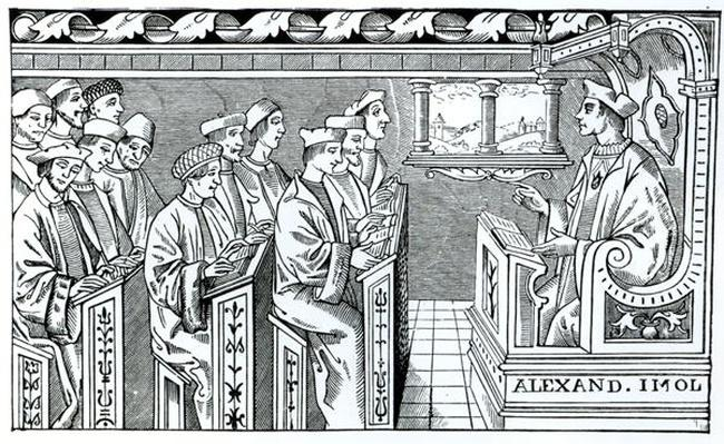 Interior of a School, illustration from 'Science and Literature in the Middle Ages and the Renaissance', written and engraved by Paul Lacroix, 1878