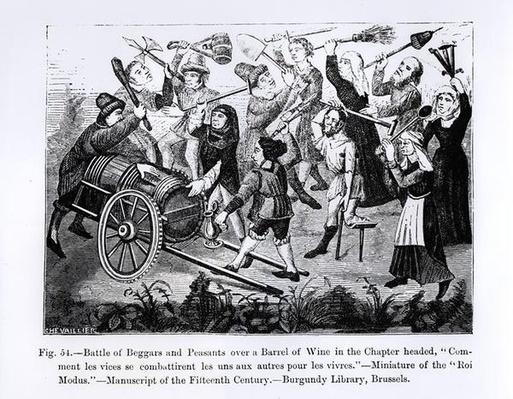 Battle of Beggars and Peasants over a Barrel of Wine
