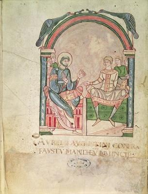 Ms 90 St. Augustine Arguing with Faustus in the Presence of their Pupils, frontispiece from 'Saint Augustin Contre Faustus'