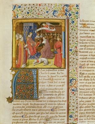 MS 246 f.1r Raoul de Presles Presenting his Translation to Charles V