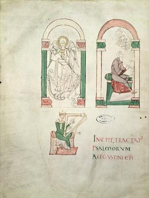 Ms 76 St. Michael, St. Augustine Writing and St. David Playing the Harp, frontispiece from 'Saint Augustin Super Psalmos'