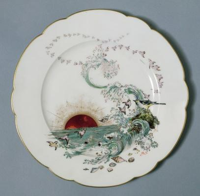 Limoges plate with a seascape design