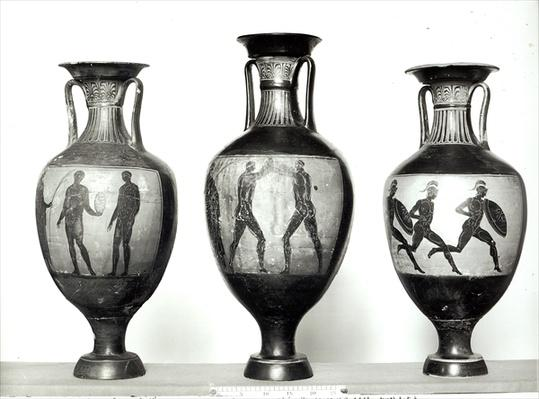Three Panathenaic amphorae depicting an athlete receiving a trophy, Boxers and Athletes, 580-520 BC
