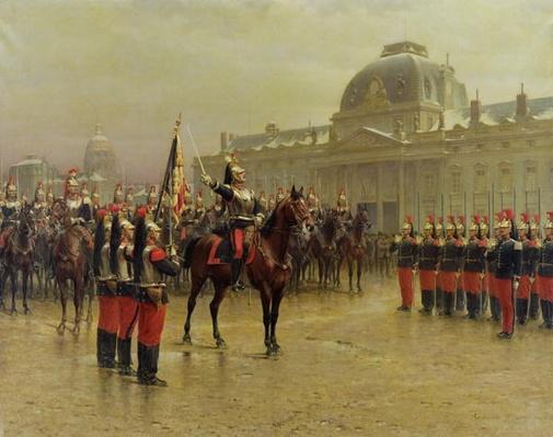 Colonel de La Rochetulon Presenting to the Recruits of the 6th Cavalry the Standard of the Regiment in January 1887, c.1887