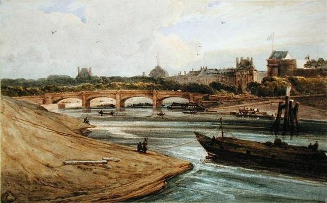 Pont de la Concorde and the Palais des Tuileries from the Cours la Reine, 1823