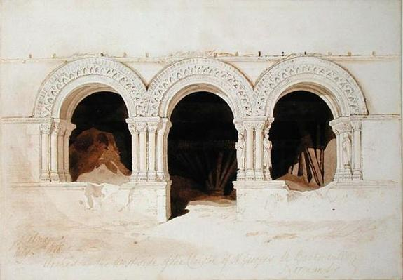 Arches in the West Side of the Cloister of St. Georges de Boscherville, near Rouen, Normandy, c.1818