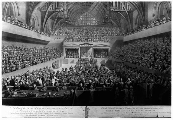 The Trial of Warren Hastings before the Court of Peers in Westminster Hall in 1788, 1789