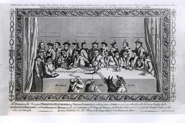 'The Candle of Reformation is Lighted': Meeting of Protestant Reformers from Various Countries, engraved by Lodge