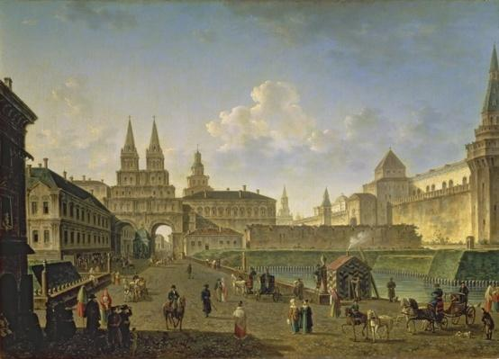 View of the Voskresensky and Nikolsky Gates and the Neglinny Bridge from Tverskay Street in Moscow, 1811