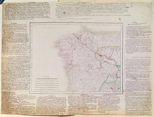 Map of Galicia with the route of the French army and a log, from the campaign in January, 1809
