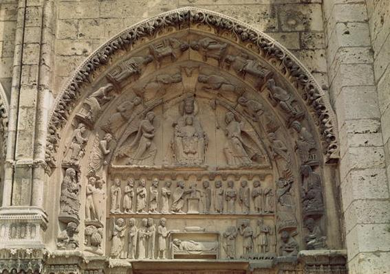 View of the tympanum depicting the Madonna and Child Enthroned, South Door of the Royal Portal, c.1145-50