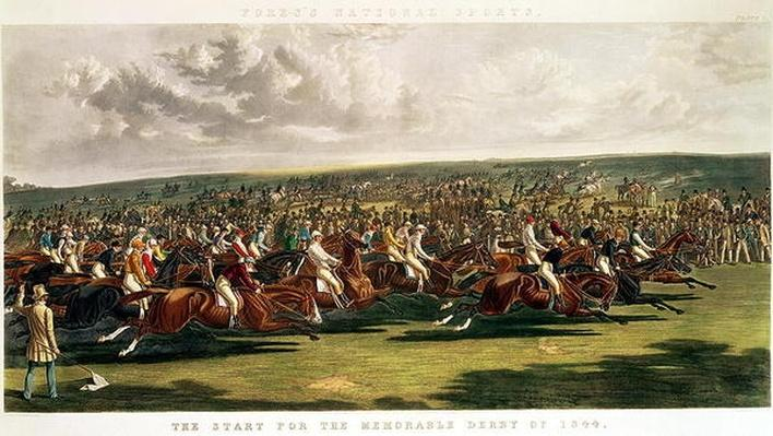 The Start of the Memorable Derby of 1844, engraved by Charles Hunt