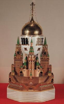 Easter egg in the form of the Uspensky Cathedral, Kremlin, given by Tsar Nicholas II