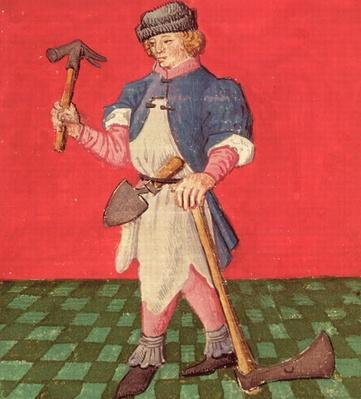 Ms.3066 fol.42 v The Blacksmith, from 'Le Livre des Echecs Moralises' by Jacques de Cessoles